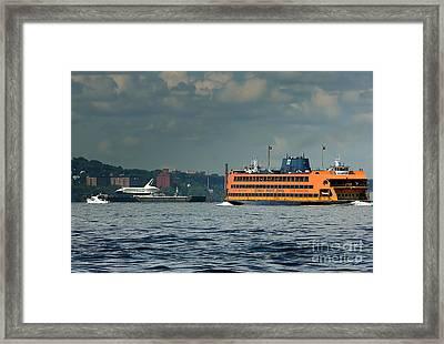 Shuttle Enterprise Glides Past Staten Island Ferry Framed Print by Tom Callan