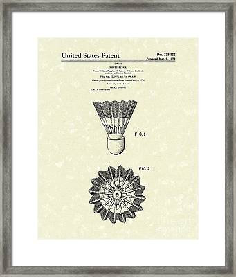 Shuttlecock 1976 Patent Art Framed Print by Prior Art Design