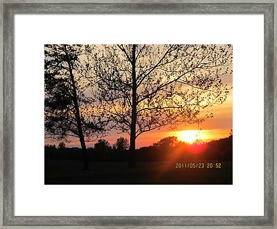 Framed Print featuring the photograph Shy Sunset by Tina M Wenger