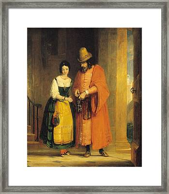 Shylock And Jessica From 'the Merchant Of Venice' Framed Print by Gilbert Stuart Newton