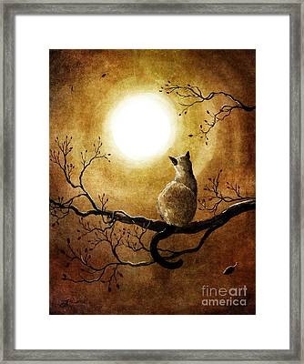 Siamese Cat In Timeless Autumn Framed Print