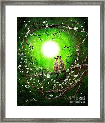 Siamese Cats In Spring Moonlight Framed Print by Laura Iverson