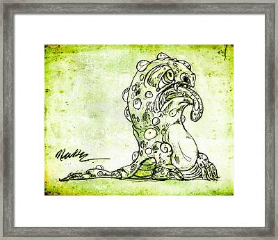 Framed Print featuring the drawing Sick Monster  by Nada Meeks
