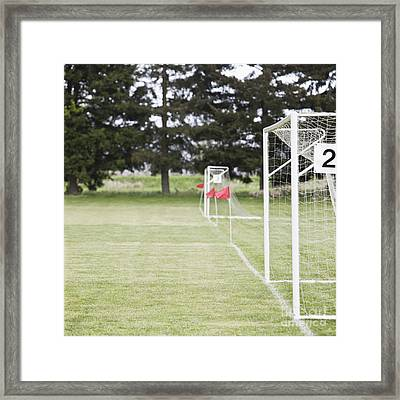 Side By Side Soccer Goal Nets Framed Print