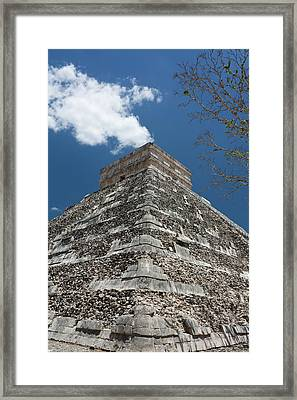 Side View Of Chichen Itza Pyramid Framed Print