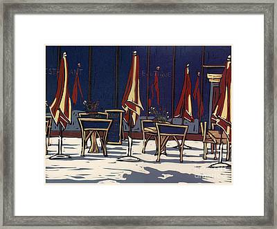 Sidewalk Cafe - Linocut Print Framed Print