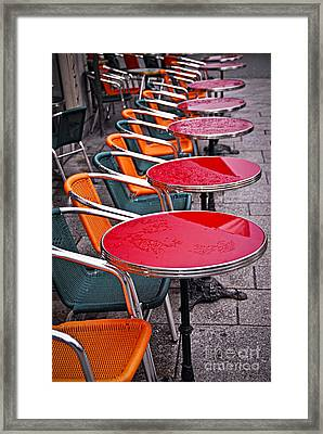 Sidewalk Cafe In Paris Framed Print by Elena Elisseeva