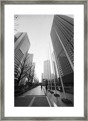 Sidewalk Near Skyscraper Framed Print