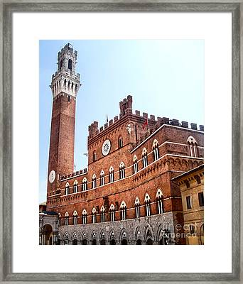 Siena Italy - Torre Del Mangia Framed Print by Gregory Dyer