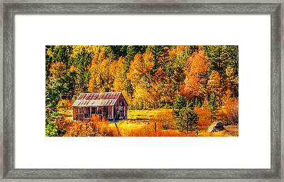 Sierra Nevada Aspen Fall Colors With Rustic Barn Framed Print by Scott McGuire