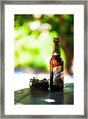 Siesta Time. Beer And Olives Framed Print by Jenny Rainbow