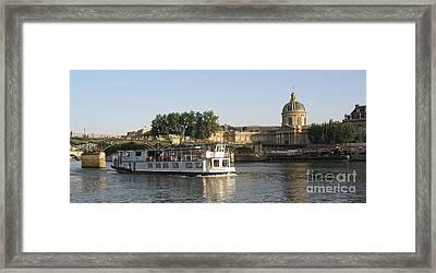 Sightseeing Boat On River Seine. Paris Framed Print by Bernard Jaubert