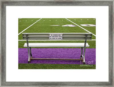 Sign On Athletic Field Bench Framed Print by Andersen Ross