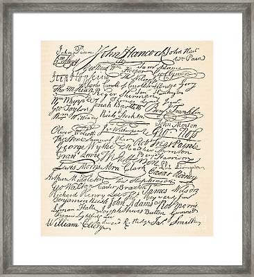 Signatures Attached To The American Declaration Of Independence Of 1776 Framed Print