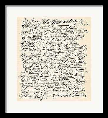 Signatures Attached To The American Declaration Of Independence Of 1776 Framed Prints