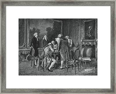 Signing Treaty Of Peace, 1782 Framed Print by Photo Researchers