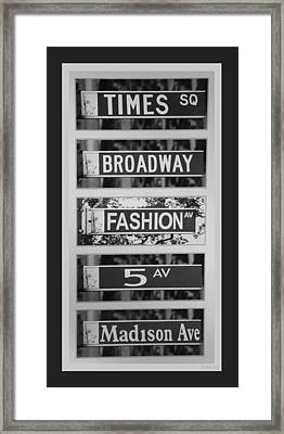 Signs Of New York In Black And White Framed Print by Rob Hans