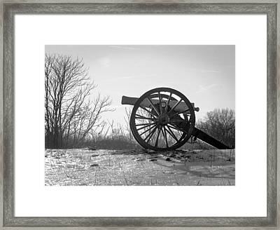 Silent Cannon In Winter Black And White Framed Print