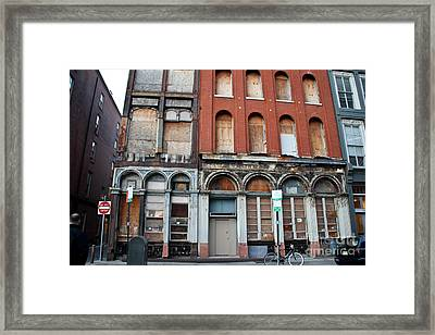 Silent City Store Fronts Framed Print by Extrospection Art
