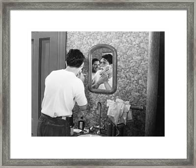 Silent Film Still: Beards Framed Print