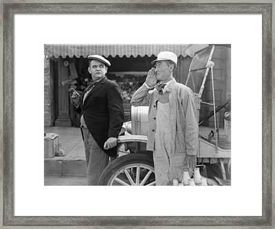 Silent Film Still: Milkman Framed Print by Granger