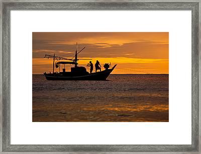 Silhouette Fisherman Boat Sunset Huahin Thailand Framed Print by Arthit Somsakul