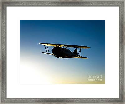 Silhouette Of A Grumman F3f Biplane Framed Print by Scott Germain