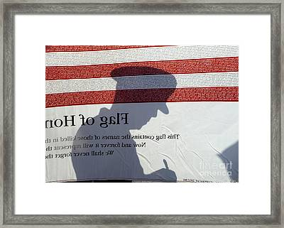Silhouette Of A Specialist Taking Notes Framed Print