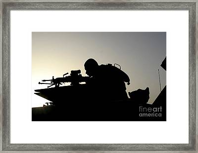Silhouette Of A Squad Automatic Weapon Framed Print