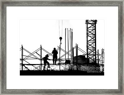 Silhouette Of Construction Site Framed Print by Yali Shi
