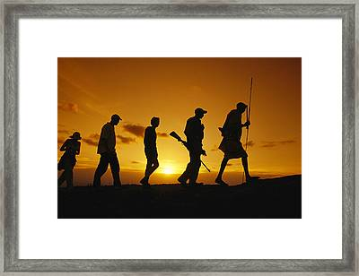 Silhouette Of Laikipia Masai Guides Framed Print by Richard Nowitz
