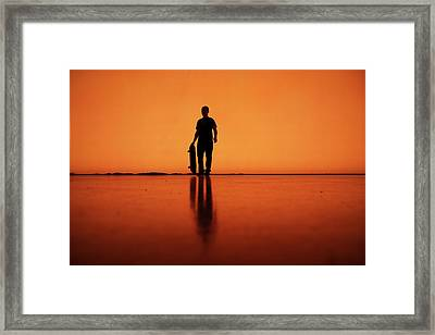Silhouette Of Man With Skateboard, Berlin Framed Print