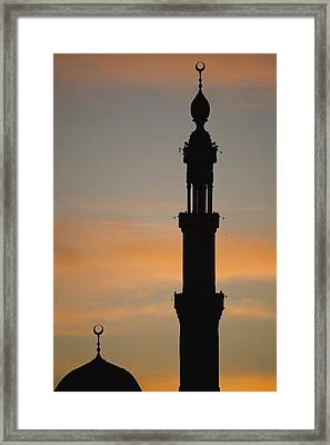 Silhouette Of Mosque At Dawn Framed Print by Axiom Photographic