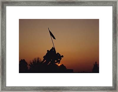 Silhouette Of The Iwo Jima Monument Framed Print by Kenneth Garrett
