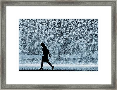 Silhouette Over Water Framed Print