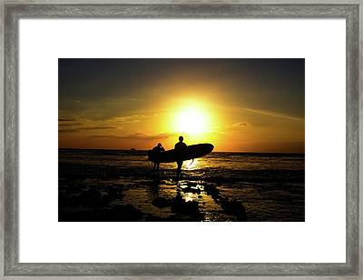 Silhouette Surfers Framed Print by Rolfo