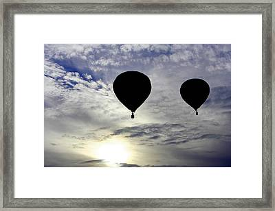 Silhouetted Hot Air Balloons Framed Print
