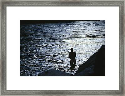 Silhouetted Man Bathing In The Colorado Framed Print by Kate Thompson
