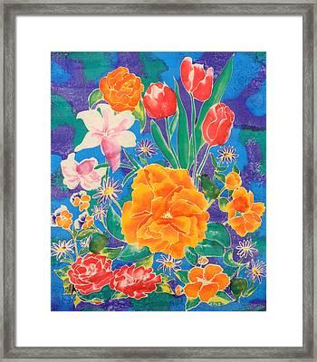 Silk Blooming Flowers Framed Print