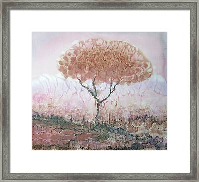 Silk Tree In Brown And Purple  Framed Print