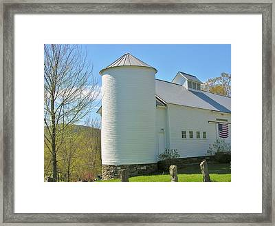 Framed Print featuring the photograph Vermont Silo And Barn  by Sherman Perry