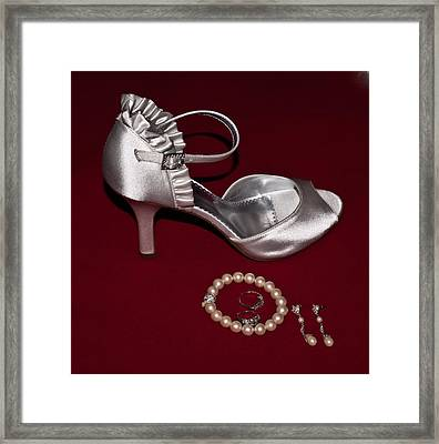 Silve Slipper And Pearls 1 Framed Print