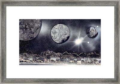 Silver And Black Space City Framed Print by Marc Chambers