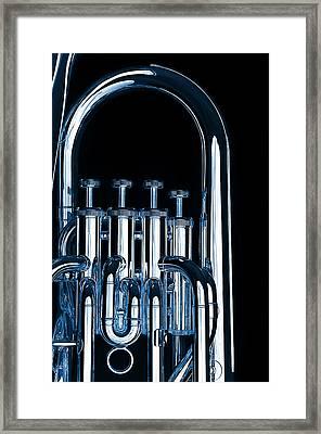 Silver Bass Tuba Euphonium On Black Framed Print by M K  Miller