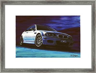 Silver Bmw M3 Framed Print by Rod Seel