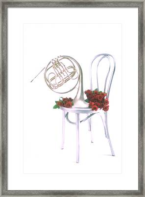 Silver French Horn On Silver Chair Framed Print