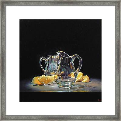 Silver Glass Oranges Framed Print by Jeffrey Hayes