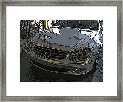Silver Mercedes Benz Sl 500 Nose Study Framed Print by Samuel Sheats