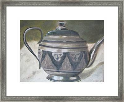 Silver Tea Kettle Framed Print by Iris Nazario Dziadul