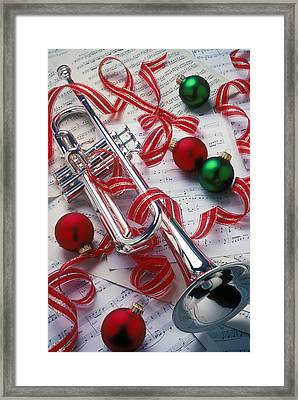 Silver Trumper And Christmas Ornaments Framed Print by Garry Gay